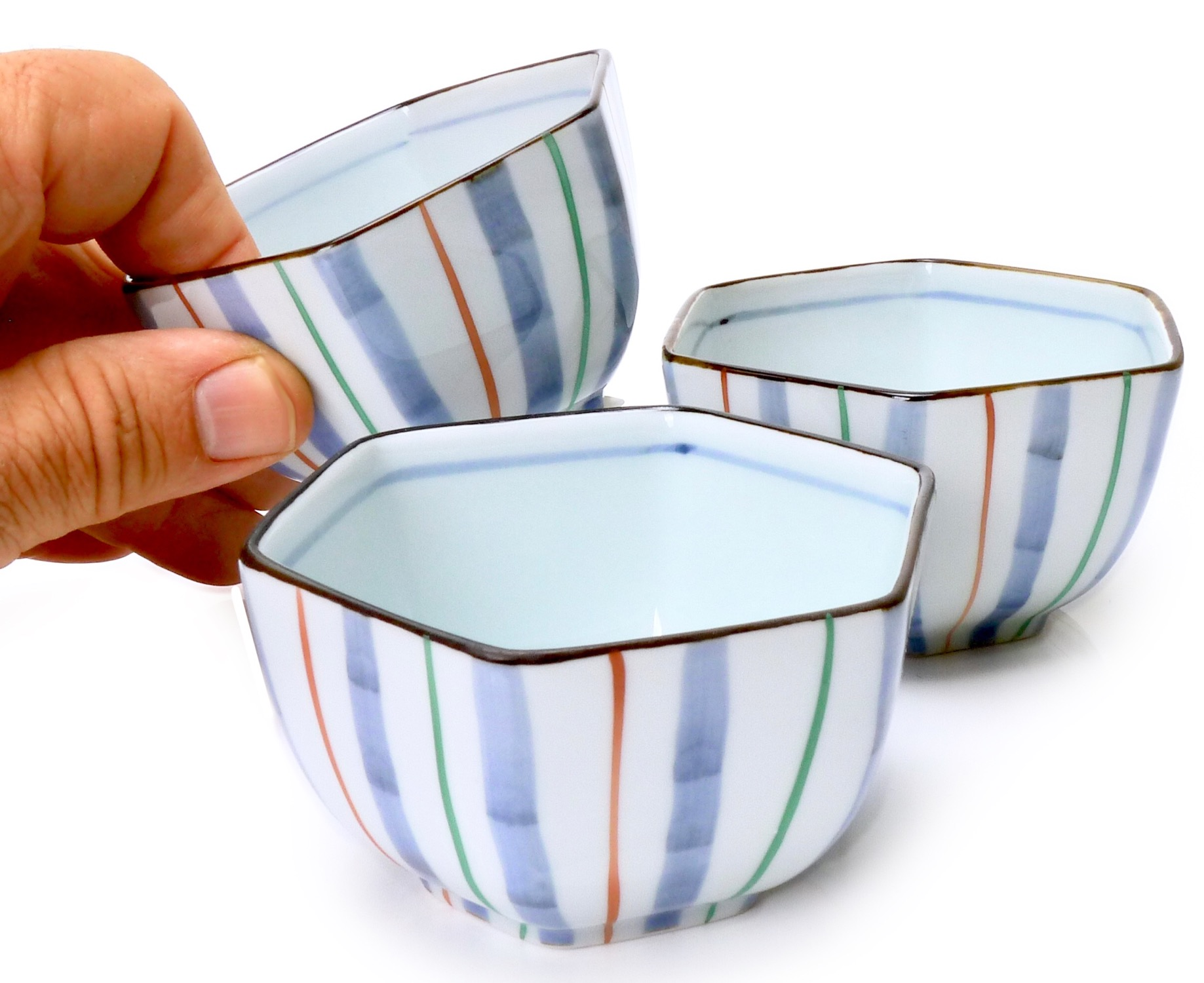Image of Hexagon Porcelain Appetizer Dish with handpainted stripes., Set Of Fou