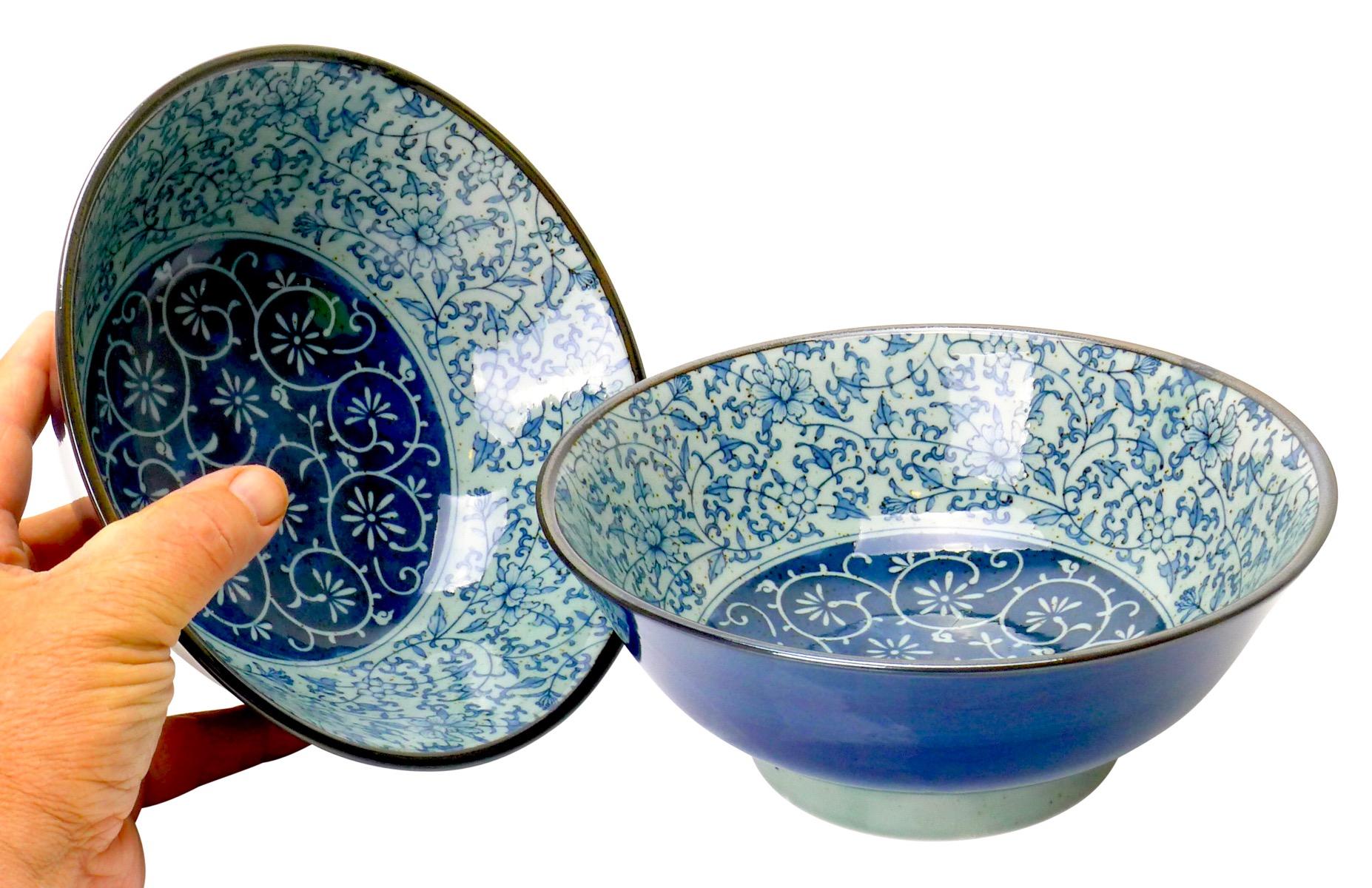 Image of Japanese Porcelain Bowl 8.5-Inch, Dark and Light Blue Ivy