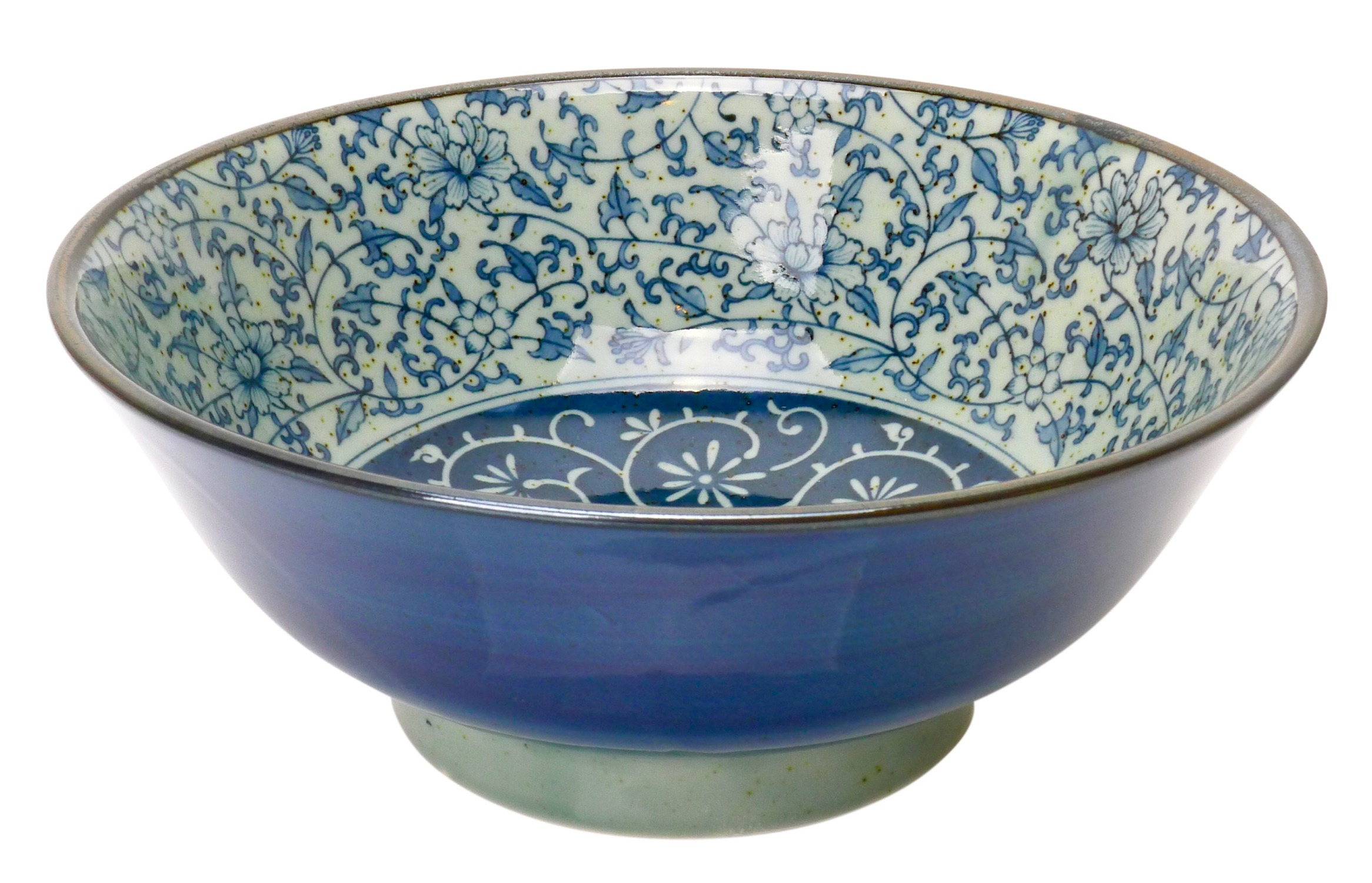 Image of Porcelain Bowl 6.5-Inch, Dark and Light Blue Ivy, Set Of Two