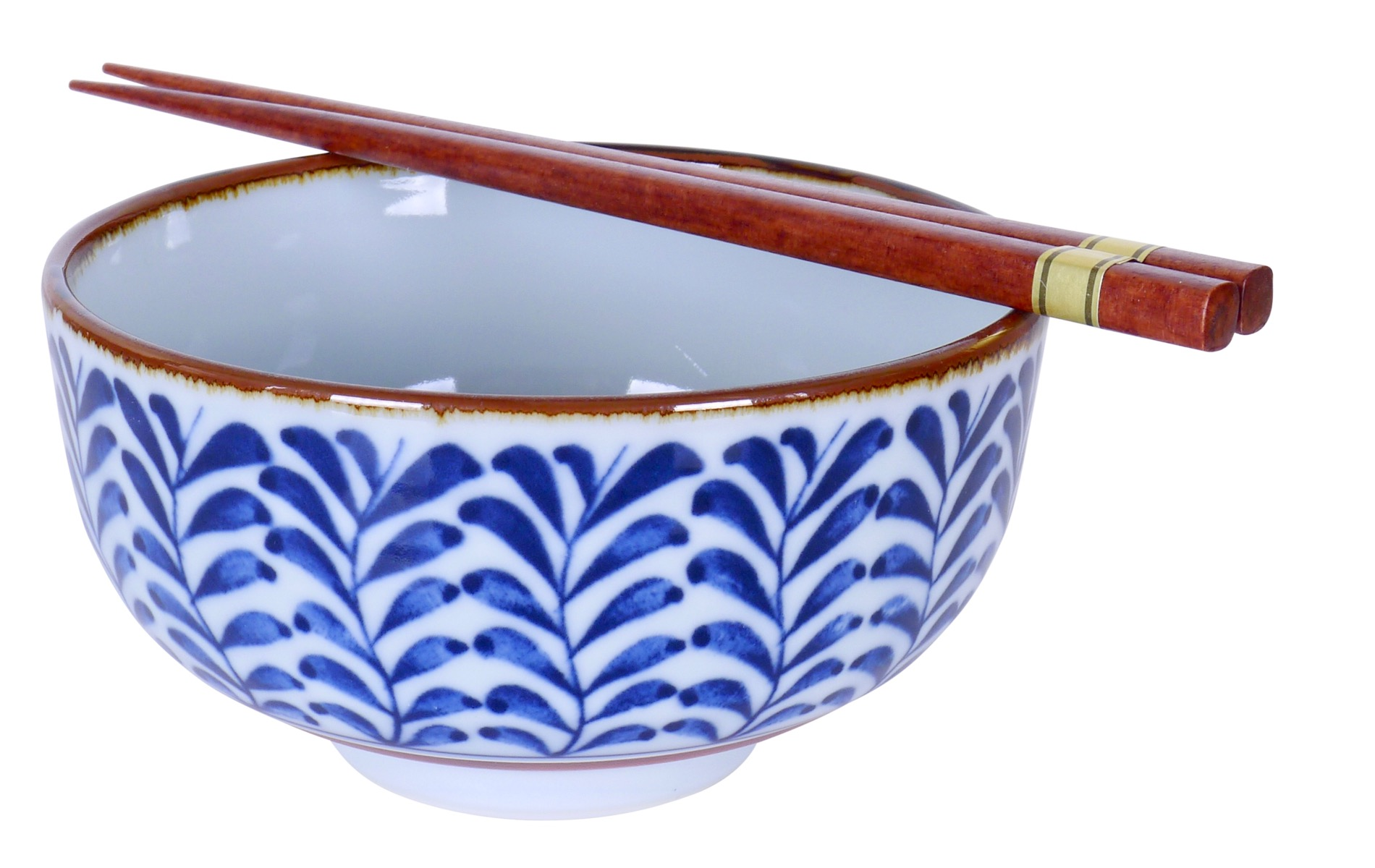 Image of White Porcelain Bowl with Blue Leaf Design, 5.5x3.25 Inch