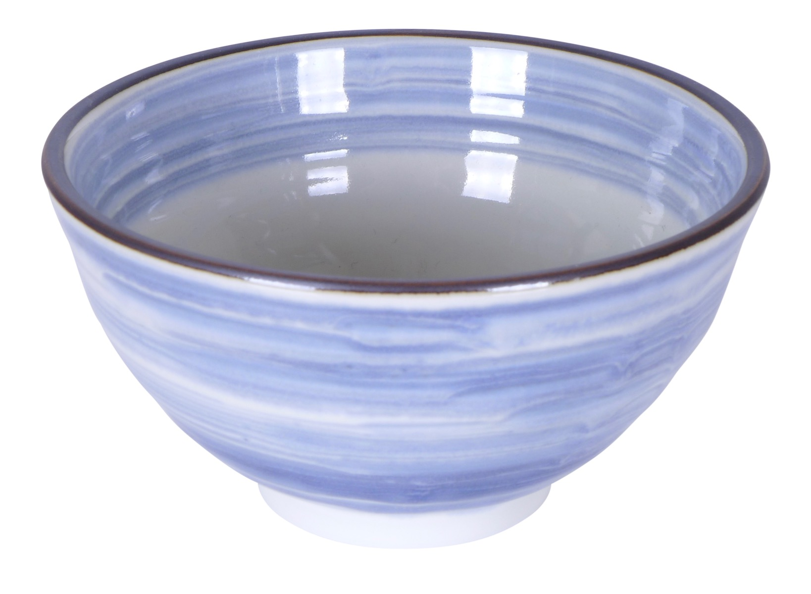 Image of Light Blue Hand Painted Porcelain Bowl 4.75x2.25-Inch