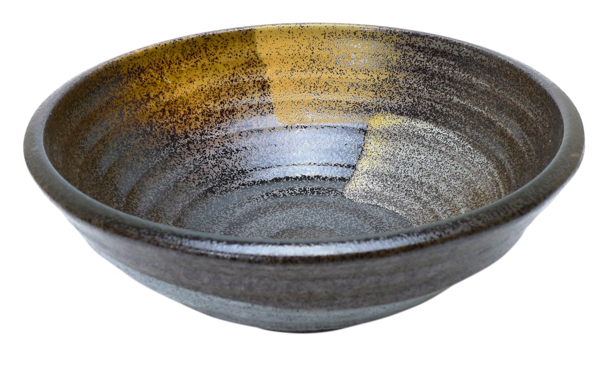 Image of Handcrafted  Brown and Gold Stoneware Serving Bowls 23x6cm