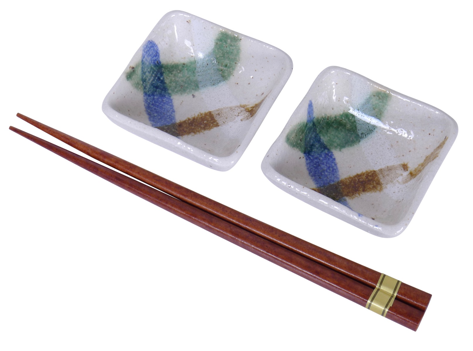 Image of White Stoneware Appetizer Dish with Handpainted Brush Strokes. 2-3/4-Inch