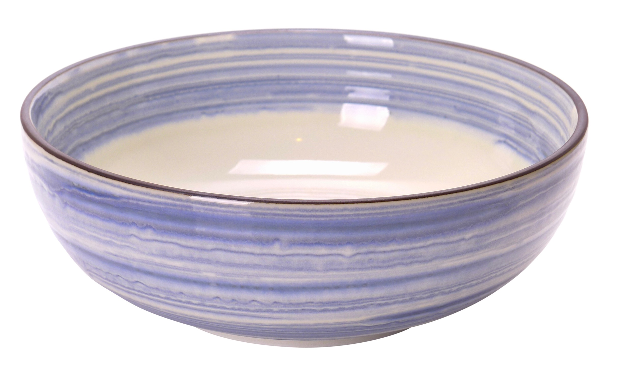 Image of White Porcelain Salad Serving Bowls with Blue Wash Handpainting 7.75x2