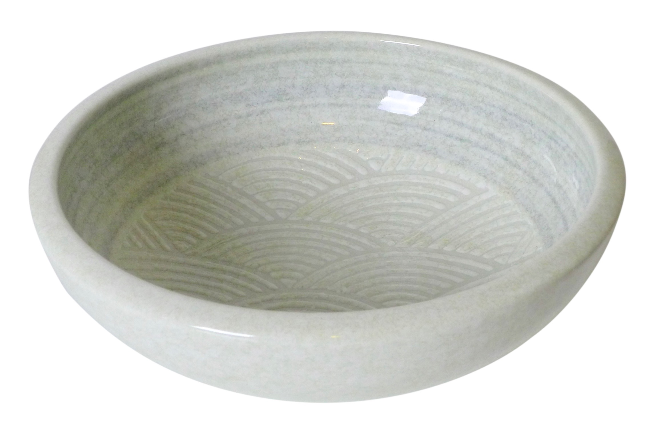 Image of White Porcelain Shallow Bowl with Rainbow Fan Design, 7.75-Inch