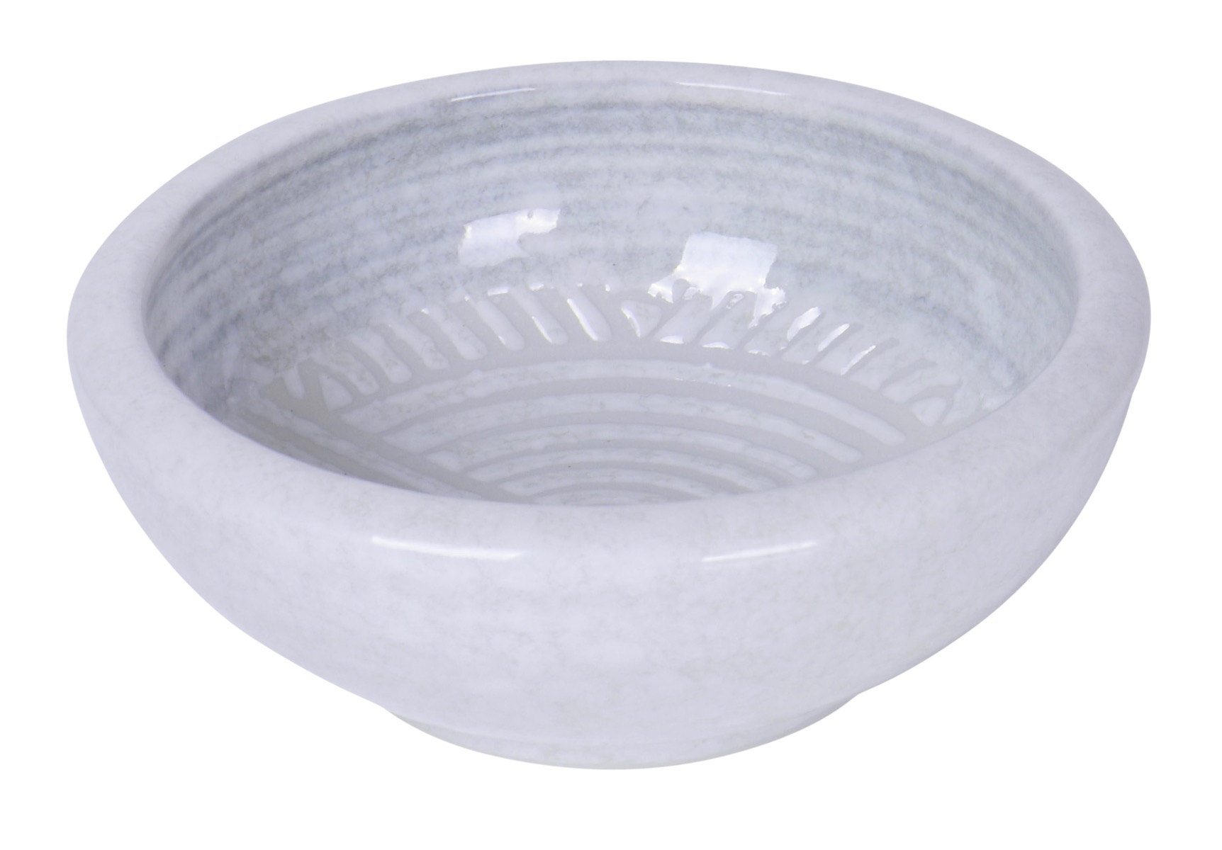 Image of White Porcelain Bowl with Rainbow Fan design 4-Inch
