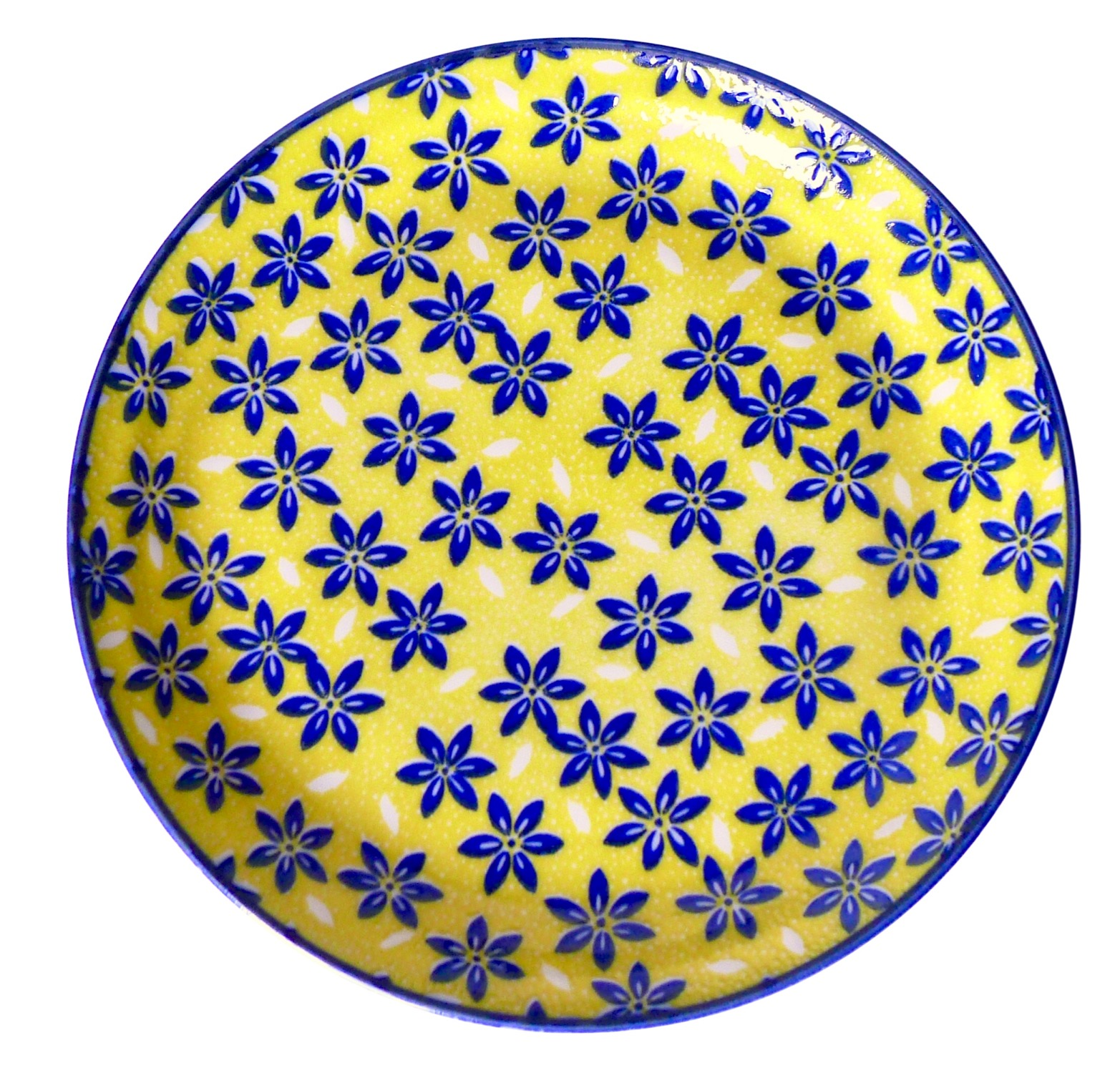 Image of Yellow and Blue Porcelain Plate, Sakura Flowers, 10-Inch, Set Of Four