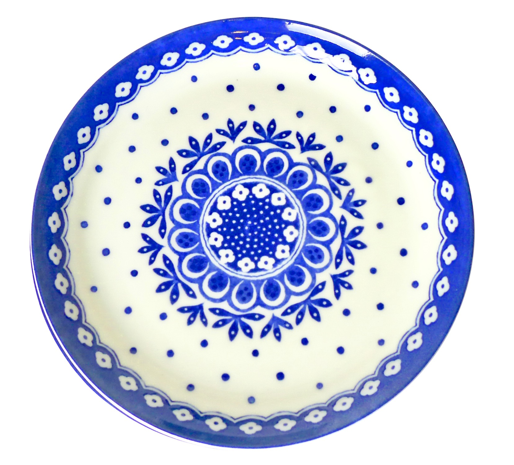 Image of White Porcelain Plate with Blue Geometric, 10-Inch, Set Of Four