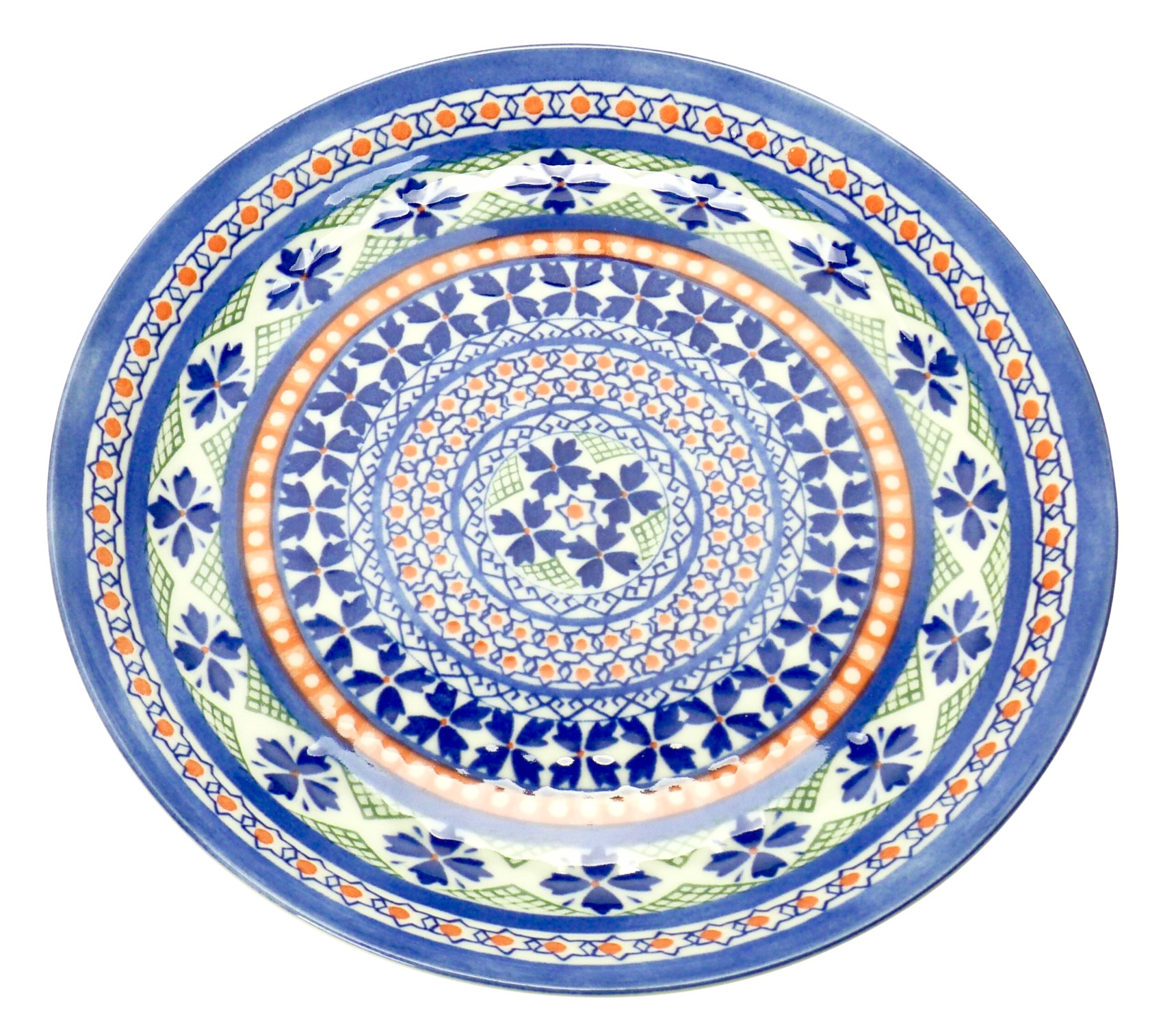 Image of Porcelain Plate with Blue and Orange Morocan Motif, 10-Inch, Set Of Four