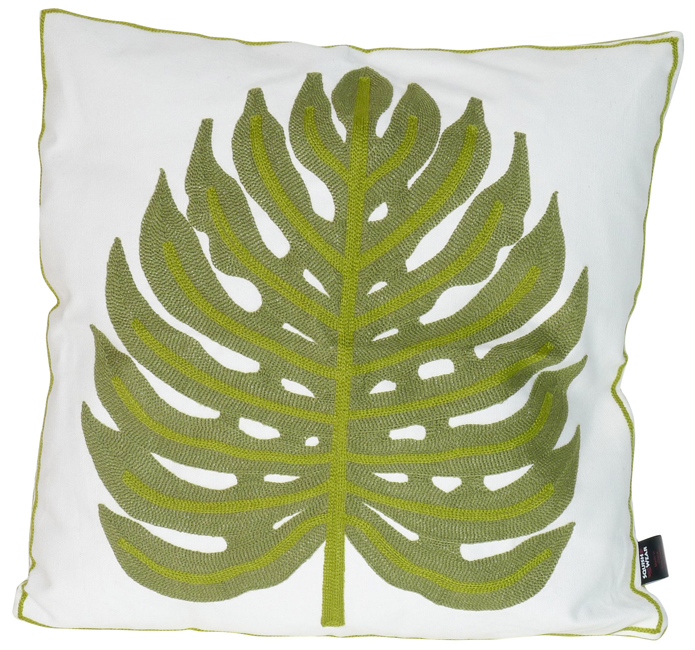 Image of Mid-Century Green Leaf Pillow Embroidered Cover