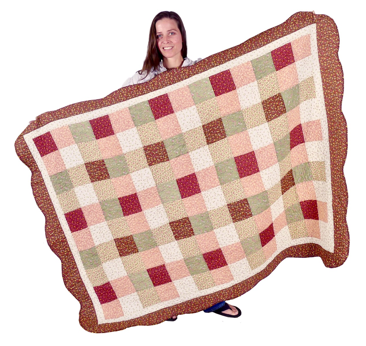 Image of Patchwork Quilted Sofa Throw 53x70-Inch - Harvest Squares