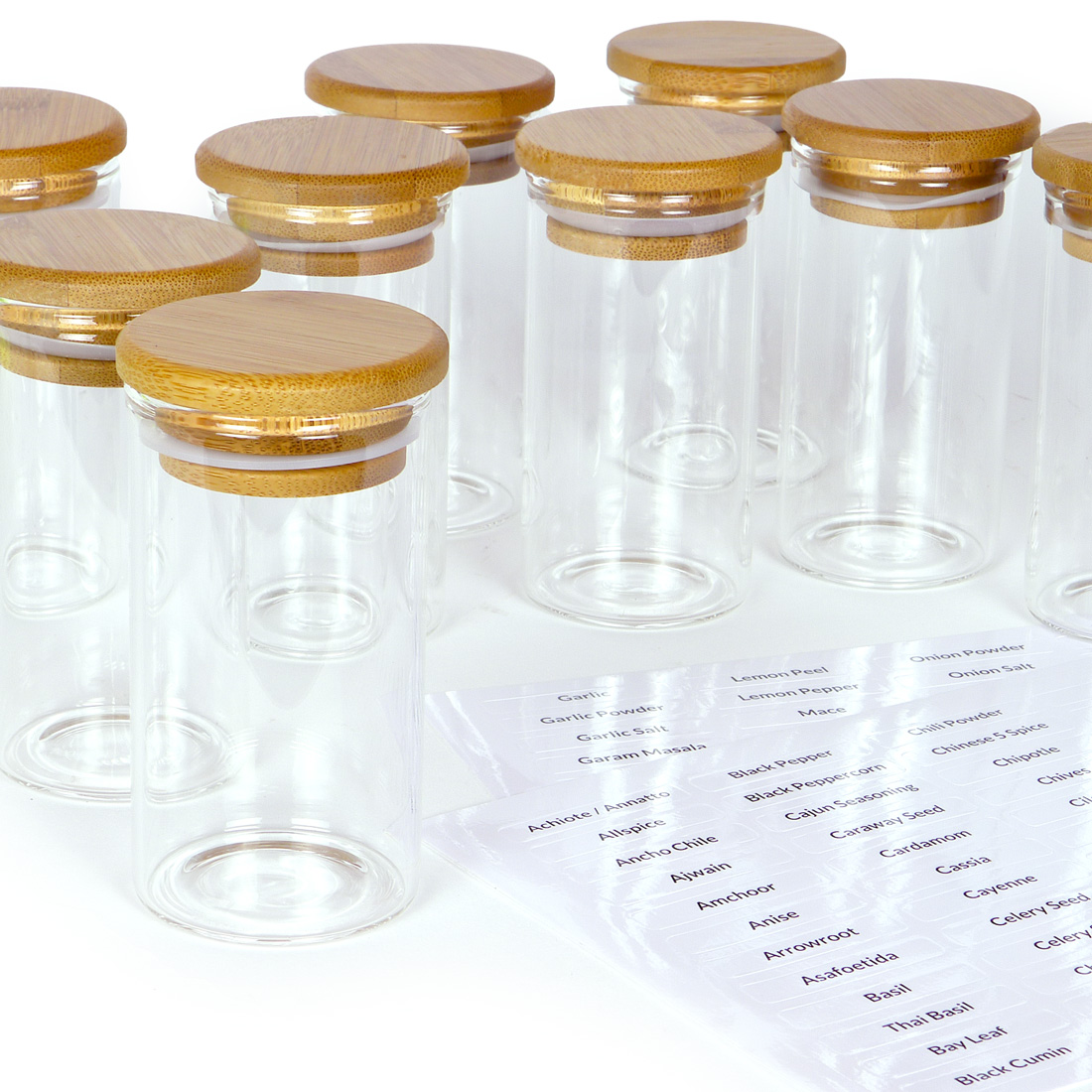 spiceberry home glass spice bottles with labels 4 oz set of 12