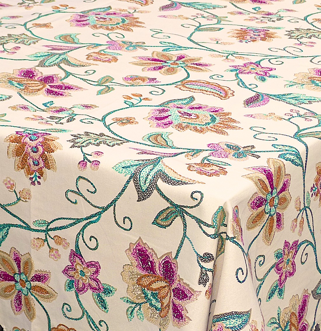 Image of Provence Fleur Tablecloth (84-Inch has tassels)
