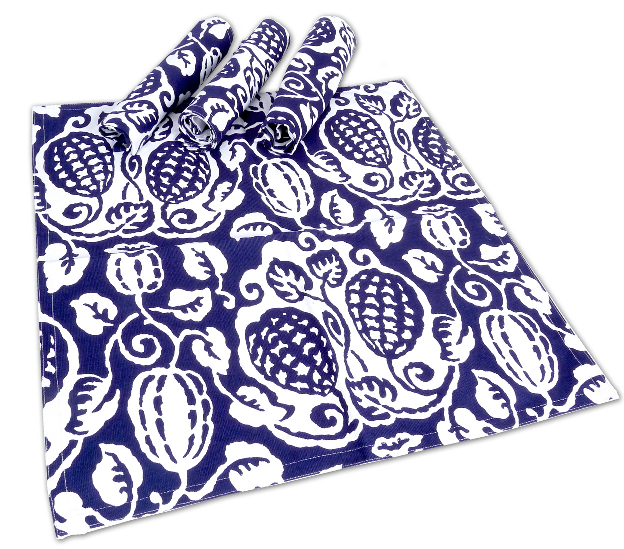 Image of Indigo Poppy Napkins, pack of 4