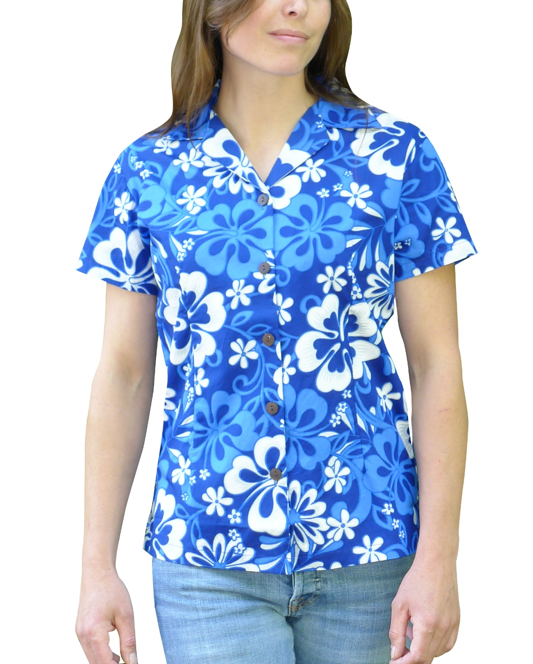 Image of Womens Shirt Blue Fiji Cotton